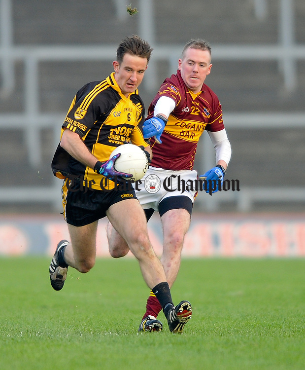 Fionn O Shea of Clyda Rovers in action against Micheal Malone of Miltown during their Intermediate Club Munster Final at The Gaelic Grounds. Photograph by John Kelly.