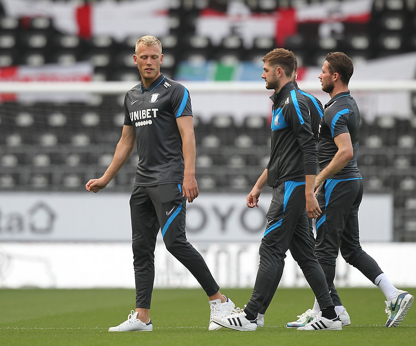 Preston North End players inspect the pitch<br /> <br /> Photographer Mick Walker/CameraSport<br /> <br /> Carabao Cup Second Round Northern Section - Derby County v Preston North End - Tuesday 15th September 2020 - Pride Park Stadium - Derby<br />  <br /> World Copyright © 2020 CameraSport. All rights reserved. 43 Linden Ave. Countesthorpe. Leicester. England. LE8 5PG - Tel: +44 (0) 116 277 4147 - admin@camerasport.com - www.camerasport.com