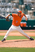 Relief pitcher Andrew Loomis #7 of the Greensboro Grasshoppers in action versus the Kannapolis Intimidators at NewBridge Bank Park June 20, 2009 in Greensboro, North Carolina. (Photo by Brian Westerholt / Four Seam Images)