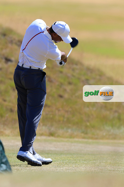Tiger WOODS (USA) tees off the 18th tee during Friday's Round 2 of the 2015 U.S. Open 115th National Championship held at Chambers Bay, Seattle, Washington, USA. 6/19/2015.<br /> Picture: Golffile | Eoin Clarke<br /> <br /> <br /> <br /> <br /> All photo usage must carry mandatory copyright credit (&copy; Golffile | Eoin Clarke)