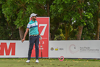 Yuvraj SANDHU (IND) watches his tee shot on 17 during Rd 3 of the Asia-Pacific Amateur Championship, Sentosa Golf Club, Singapore. 10/6/2018.<br /> Picture: Golffile | Ken Murray<br /> <br /> <br /> All photo usage must carry mandatory copyright credit (© Golffile | Ken Murray)