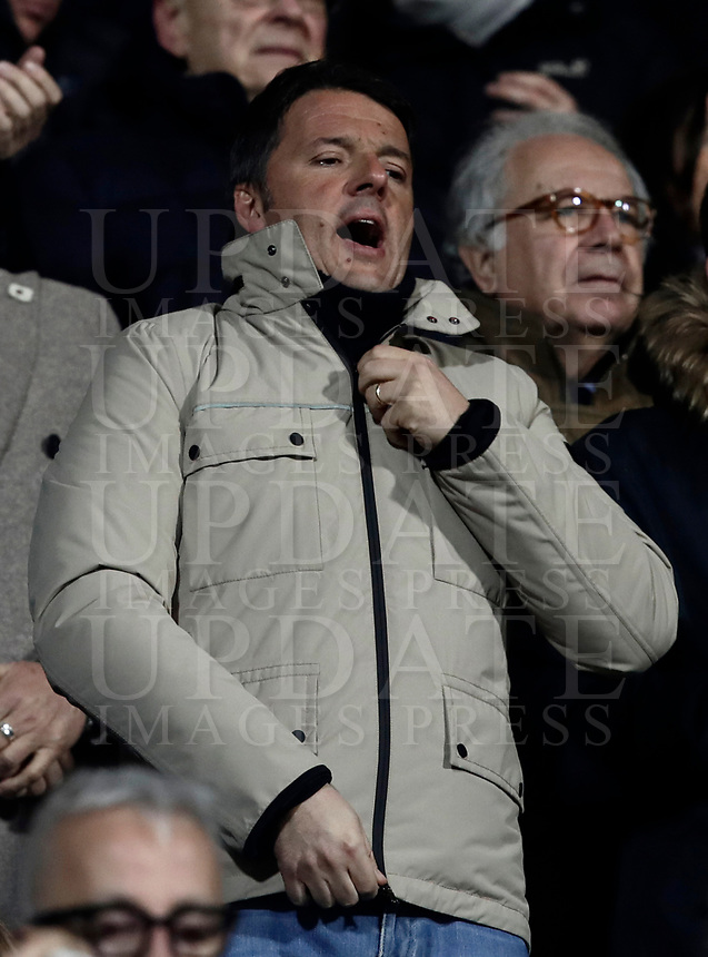 Calcio, Serie A: Fiorentina - Juventus, stadio Artemio Franchi Firenze 9 febbraio 2018.<br /> Democratic Party (PD) leader and Italy's former premier Matteo Renzi waits for the start of the Italian Serie A football match between Fiorentina and Juventus at Florence's Artemio Franchi stadium, February 9, 2018.<br /> UPDATE IMAGES PRESS/Isabella Bonotto