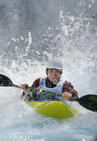 Kay Arne Randen (Norway) . Kayak downhill race in the Brandseth river. The Extremesport Week, Ekstremsportveko, is the worlds largest gathering of adrenalin junkies. In the small town of Voss enthusiasts in a varitety of extreme sports come togheter every summer to compete and play. Norway.  ©Fredrik Naumann/Felix Features.