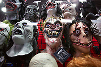 NEW YORK, USA - October 3: Masks are seen on a wall during day 1 of NYC Comic Con on October 3, 2019 in New York, USA.<br /> The 2019 New York Comic-Con at the Jacob K. Javits Convention Center Day 1 with the latest in superhero movies, sci-fi shows, animation, video games, comic book releases available to attendees.<br /> (Photo by Luis Boza/VIEWpress/Corbis via Getty Images)