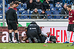 09.02.2019, HDI Arena, Hannover, GER, 1.FBL, Hannover 96 vs 1. FC Nuernberg<br /> <br /> DFL REGULATIONS PROHIBIT ANY USE OF PHOTOGRAPHS AS IMAGE SEQUENCES AND/OR QUASI-VIDEO.<br /> <br /> im Bild / picture shows<br /> Kevin Akpoguma (Neuzugang Hannover 96 #14) liegt verletzt auf Spielfeld, Verletzung rechte Schulter, wird von Ralf Blume (Chef Physiotherapeut Hannover 96) gest&uuml;tzt, Prof. Dr. Axel Partenheimer behandelt Akpoguma w&auml;hrend Spielunterbrechung, <br /> <br /> Foto &copy; nordphoto / Ewert