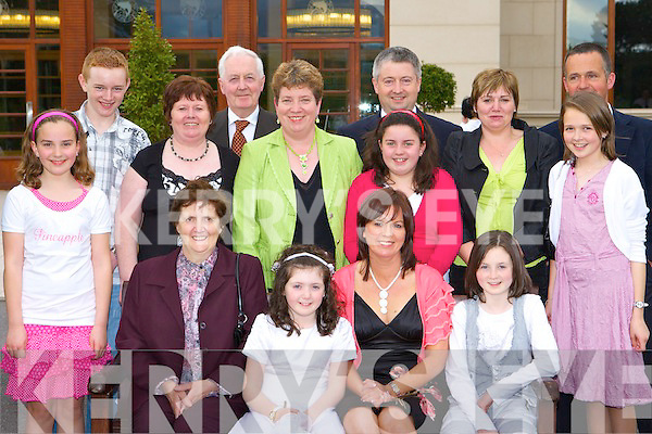 The O'Mahony's from Cullen and Kelleher's from Glenflesk who had a family reunion for Aoife Kelleher Holy Communion in the Brehon Hotel on Saturday, front row l-r: Joan, Aoife, Siobhain, Orla Kelleher. Back row: Mairead O'Mahony, Tony, Bridie Guerin, Brendan Kelleher, Kathleen O'Mahony, John Kelleher, Maura O'Mahony, Anna, Pat and Rose Kelleher   Copyright Kerry's Eye 2008