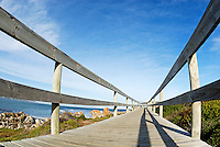 Wooden footbridge by ocean, South Africa