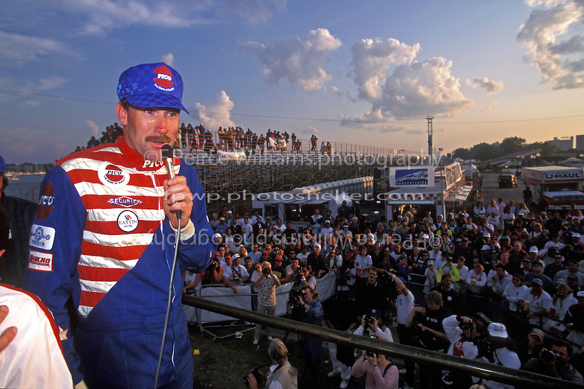 """Dave Villwock, U-100 """"Pico American Dream"""" talks to the fans at the victory celebration."""