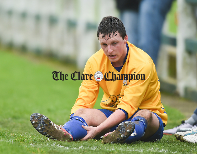Stephen Kelly of Clare after coming off injured during their FAI Oscar Traynor game against Limerick. Photograph by John Kelly.