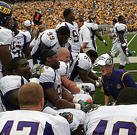 East Carolina defense gets scolded by a coach. The WVU Mountaineers defeated the East Carolina Pirates 35-20 at Mountaineer Field at Milan Puskar Stadium, Morgantown, West Virginia on September 12, 2009.