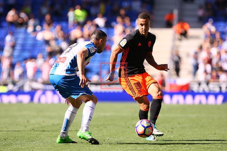 League Santander 2016/2017. Game: 37.<br /> RCD Espanyol vs Valencia CF: 0-1.<br /> Javi Fuego vs Rodrigo Moreno.