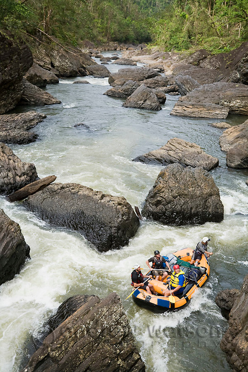 White water rafting expedition on the North Johnstone River, Wooroonoonan National Park, Queensland, Australia