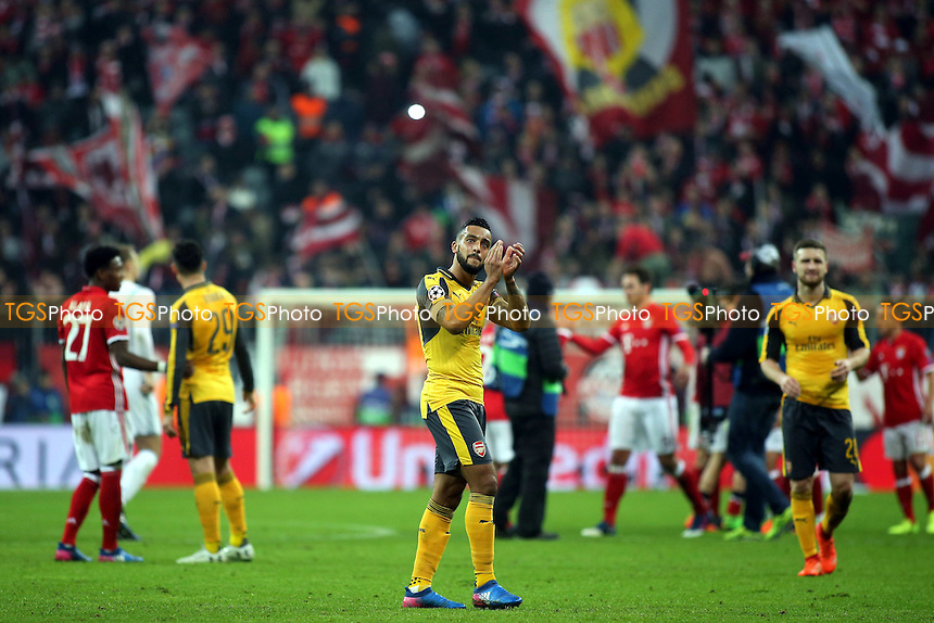 Arsenal's Theo Walcott, applauds the Arsenal fans at the end of the match during FC Bayern Munich vs Arsenal, UEFA Champions League Football at the Allianz Arena on 15th February 2017