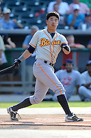 Montgomery Biscuits designated hitter Kyeong Kang #23 swings at a pitch during Home Run Derby before the Southern League All-Star Game  at Smokies Park on June 19, 2012 in Kodak, Tennessee.  The South Division defeated the North Division 6-2. (Tony Farlow/Four Seam Images).