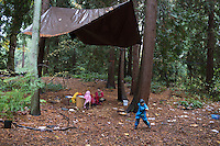 Fiddleheads Forest School, Nature Preschool, Magnolia Site. Fiddleheads is an entirely outdoor preschool program developed by Kit Harrington and Sarah Heller at the UW Botanic Gardens Washington Park Arboretum.