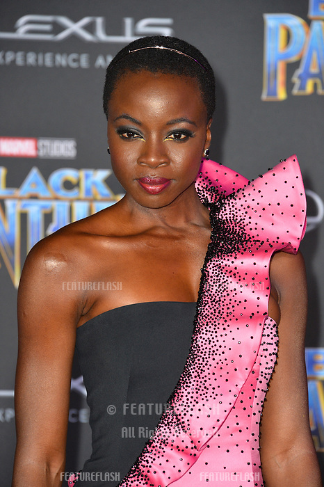 "Danai Gurira at the world premiere for ""Black Panther"" at the Dolby Theatre, Hollywood, USA 29 Jan. 2018<br /> Picture: Paul Smith/Featureflash/SilverHub 0208 004 5359 sales@silverhubmedia.com"