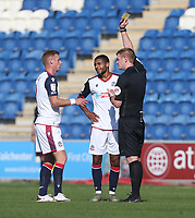 Bolton Wanderers' Brandon Comley receives a yellow card<br /> <br /> Photographer Rob Newell/CameraSport<br /> <br /> The EFL Sky Bet League Two - Colchester United v Bolton Wanderers - Saturday 19th September 2020 - Colchester Community Stadium - Colchester<br /> <br /> World Copyright © 2020 CameraSport. All rights reserved. 43 Linden Ave. Countesthorpe. Leicester. England. LE8 5PG - Tel: +44 (0) 116 277 4147 - admin@camerasport.com - www.camerasport.com