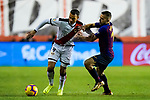 Raul de Tomas Gomez, R D T, of Rayo Vallecano (L) fights for the ball with Jordi Alba Ramos of FC Barcelona during the La Liga 2018-19 match between Rayo Vallecano and FC Barcelona at Estadio de Vallecas, on November 03 2018 in Madrid, Spain. Photo by Diego Gouto / Power Sport Images