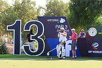 Shane Lowry (IRL) on the 13th tee during the preview for the DP World Tour Championship at the Earth course,  Jumeirah Golf Estates in Dubai, UAE,  18/11/2015.<br /> Picture: Golffile | Thos Caffrey<br /> <br /> All photo usage must carry mandatory copyright credit (&copy; Golffile | Thos Caffrey)