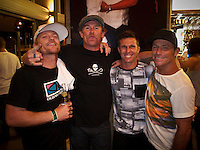 MICK CAMPBELL (AUS), MATT HOY, (AUS), DANNY WILLS (AUS)  AND TOM CARROLL (AUS)  at Danny's retirement  from the ASP World Tour was celebrated last night, Monday 2 March 2009 at the La Monde restaurant at Kirra Beach, Kirra, Queensland, Australia ,   Photo: joliphotos.com