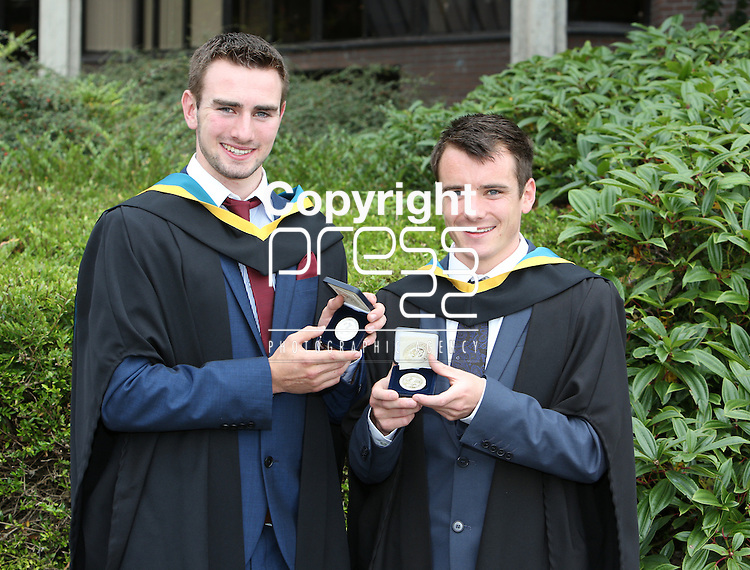 24/8/2014  With Compliments.  Attending the University of Limerick conferrings on Tuesday afternoon were medal winners Brendan O'Keeffe, Rathmore, Kerry and James McAssey, Carlow town both conferred with a BSc in Physical Education as well receiving the Silver Medal for Joint First Place Interfaculty Programmes 2014.<br /> Picture Liam Burke/Press 22