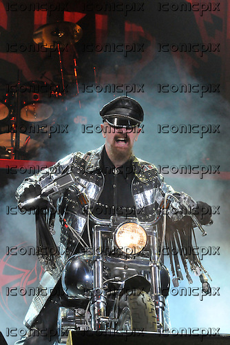 JUDAS PRIEST - vocalist Rob Halford - performing live on the Priest Feast Tour of the UK at Wembley Arena in London  UK- 21 Feb 2009.  Photo credit: George Chin/IconicPix