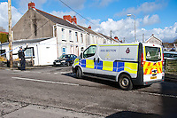 Tuesday 18 February 2014<br /> Pictured: A police dog van at the scene. Police Say the dog was romoved from the house<br /> Re:A dog has been seized by police following the sudden death of a baby in Carmarthenshire.Officers say they had a call alerting them to the incident at a property in New Road, Pontyberem, shortly before 08:30 GMT on Tuesday.The baby was airlifted to the University Hospital of Wales, Cardiff, the Welsh Ambulance Service said.The dog involved in the incident was an Alaskan Malamute, similar to a Husky, which is not a banned breed.