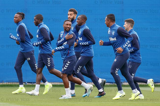 28.08.2019 Rangers training: Jermain Defoe and Alfredo Morelos