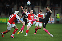 Fleetwood Town's Paddy Madden vies for possession with Peterborough United's Mark Beevers<br /> <br /> Photographer Kevin Barnes/CameraSport<br /> <br /> The EFL Sky Bet League One - Fleetwood Town v Peterborough United - Saturday 15th February 2020 - Highbury Stadium - Fleetwood<br /> <br /> World Copyright © 2020 CameraSport. All rights reserved. 43 Linden Ave. Countesthorpe. Leicester. England. LE8 5PG - Tel: +44 (0) 116 277 4147 - admin@camerasport.com - www.camerasport.com