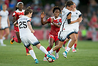 Boyds, MD. - Saturday, June 24 2017:  Meghan Klingenberg, Emily Menges, Francisca Ordega during a regular season National Women's Soccer League (NWSL) match between the Washington Spirit and the Portland Thorns FC at Maureen Hendricks Field, Maryland SoccerPlex.<br />  The Washington Spirit defeated the Portland Thorns FC 1-0.