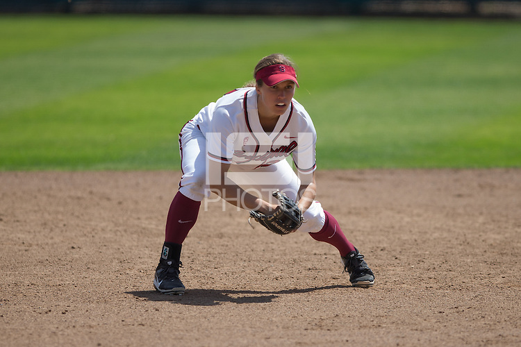 Stanford, California - April 19, 2015: Stanford Softball vs Oregon on Sunday afternoon at Stanford.