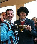 Cheltenham Races 2004 Thursday 18-3-2004<br /> Best Mate jockey Jim Culloty and trainer Henrietta Knight with the Cheltenham Gold Cup at Cheltenham Races on Thursday.<br /> Picture by Don MacMonagle<br /> NOTE: CHELTENHAM MOBILE 353 87 9092831<br /> info@macmonagle.com