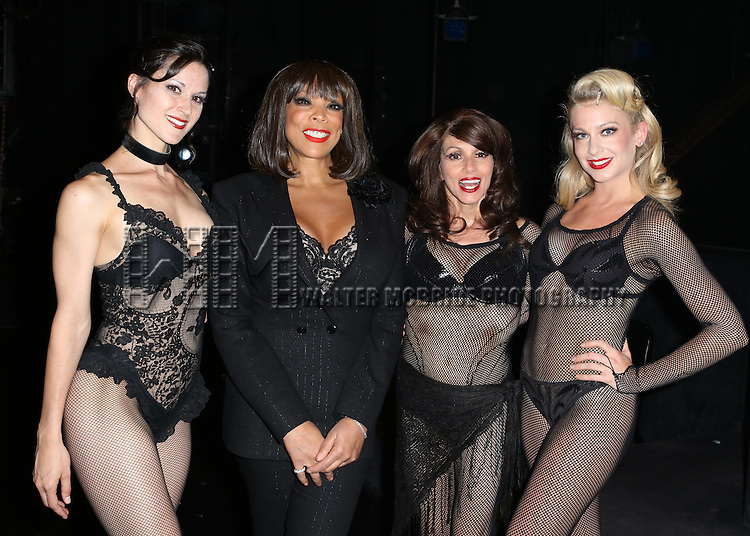 """Cristy Candler, Wendy Williams, Donna Marie Asbury and Anne Horak backstage after Wendy Williams makes her Broadway stage debut as Matron """"Mama"""" Morton in CHICAGO at the Ambassador Theatre on July 1, 2013 in New York City."""