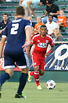 09 July 2014: Dallas' Andres Escobar (COL) (91) and Carolina's Daniel Scott (2). The Carolina RailHawks of the North American Soccer League played FC Dallas of Major League Soccer at WakeMed Stadium in Cary, North Carolina in the quarterfinals of the 2014 Lamar Hunt U.S. Open Cup soccer tournament. FC Dallas won the game 5-2.