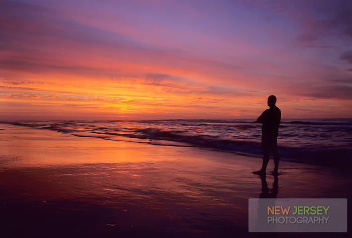 Person watching an ocean sunrise, Avalon, New Jersey