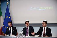 Roma, 6 Settembre 2018<br /> Giuseppe Conte, Alfonso Bonafede, Luigi Di Maio<br /> Palazzo Chigi<br /> Conferenza stampa su Decreto Anti Corruzione