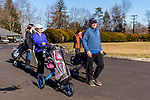 WATERBURY, CT. 12 January 2020-011220BS380 - David Rotatori of Naugatuck, right, leads his wife Pam, second from left, and their daughters Alena, left, and Cara, second from right to the first tee on another warm day for a family day of golf at the Waterbury Country Club on Sunday. Temperatures reaches into the 60's for the second day in a row. Bill Shettle Republican-American