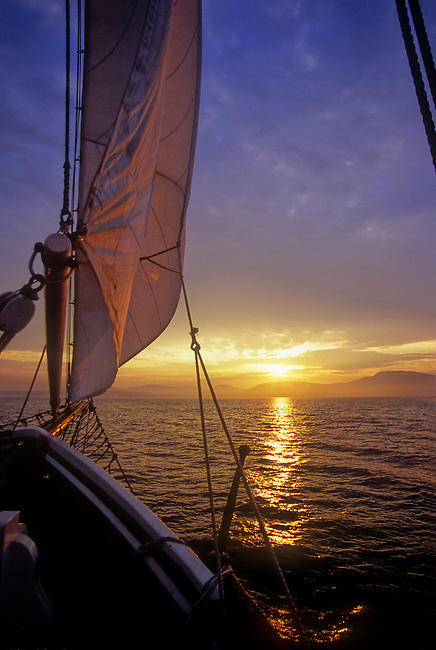 Sailing at sunset on Penobscot Bay is the perfect end of a summer day