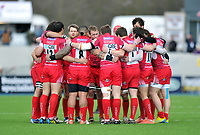 The London Welsh team huddle together prior to the match. Aviva Premiership match, between Saracens and London Welsh on March 3, 2013 at Allianz Park in London, England. Photo by: Patrick Khachfe / Onside Images