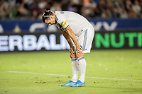 CARSON, CA - SEPTEMBER 21: Zlatan Ibrahimovic #9 of the Los Angeles Galaxy takes a breather during a game between Montreal Impact and Los Angeles Galaxy at Dignity Health Sports Park on September 21, 2019 in Carson, California.
