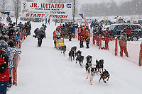 Charlie Allison of Talkeetna leaves the start line of the 2009 Junior Iditarod on Knik Lake on Saturday Februrary 28, 2009.