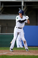 Princeton Rays right fielder Beau Brundage (16) at bat during the second game of a doubleheader against the Greeneville Reds on July 25, 2018 at Hunnicutt Field in Princeton, West Virginia.  Greeneville defeated Princeton 8-7.  (Mike Janes/Four Seam Images)