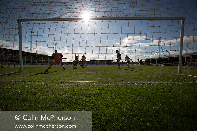 The visitors press for a late winner at Gayfield Park as Arbroath hosted Edinburgh City (in yellow) in an SPFL League 2 fixture. The newly-promoted side from the Capital were looking to secure their place in SPFL League 2 after promotion from the Lowland League the previous season. They won the match 1-0 with an injury time goal watched by 775 spectators to keep them 4 points clear of bottom spot with three further games to play.