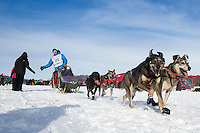 Travis Beals and team on the trail on Long Lake during the restart of the Iditarod at Willow on Sunday, March 3, 2013.
