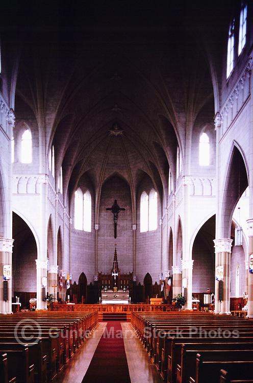 Interior of Saint Bernard Church / Eglise Saint-Bernard (built 1910 - 1942), St. Bernard, NS, Nova Scotia, Canada - Gothic Style Architecture and Catholic Churches