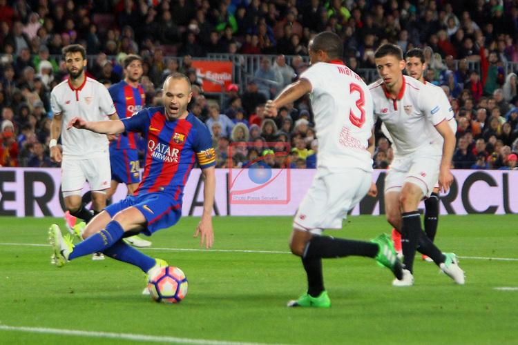 League Santander 2016/2017. Game: 30.<br /> FC Barcelona vs Sevilla FC: 3-0.<br /> Andres Iniesta vs Mariano.