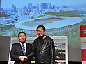 December 22, 2015, Tokyo, Japan - Designer Kengo Kuma, right, and Kazumi Ohigashi, senior director of the Japan Sports Council, shakes hands during a news conference in Tokyo on Tuesday, December 22, 2015, announcing the winning design for the new National Stadium. The government picked the design by architect Kuma, putting an end to the longstanding brouhaha over the venue that is expected to be the centerpiece of the 2020 Tokyo Olympics.  (Photo by Natsuki Sakai/AFLO) AYF -mis-