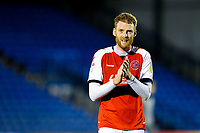 Fleetwood Town's Cian Bolger applauds the travelling fans after the match <br /> <br /> Photographer Alex Dodd/CameraSport<br /> <br /> The EFL Checkatrade Trophy Group B - Bury v Fleetwood Town - Tuesday 13th November 2018 - Gigg Lane - Bury<br />  <br /> World Copyright &copy; 2018 CameraSport. All rights reserved. 43 Linden Ave. Countesthorpe. Leicester. England. LE8 5PG - Tel: +44 (0) 116 277 4147 - admin@camerasport.com - www.camerasport.com
