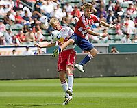 Chivas USA rookie midfielder Blair Gavin (18) battles NY Red Bulls defender Tim Ream (5). Chivas USA defeated the Red Bulls of New York 2-0 at Home Depot Center stadium in Carson, California April 10, 2010.  .