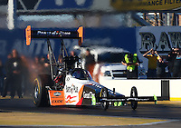 Feb 3, 2016; Chandler, AZ, USA; NHRA top fuel driver Clay Millican during pre season testing at Wild Horse Pass Motorsports Park. Mandatory Credit: Mark J. Rebilas-USA TODAY Sports